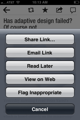 Flipboard for iPhone - Options via Sharing button