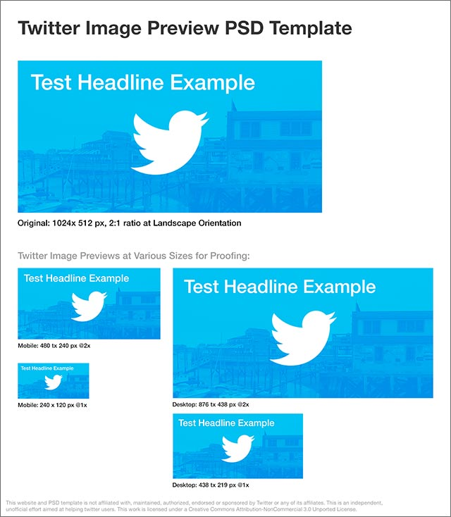 Twitter Image Preview Template PSD example